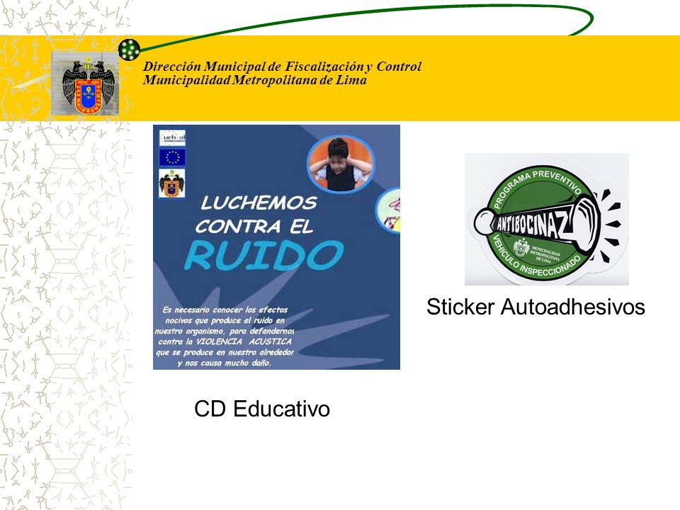 Dirección Municipal de Fiscalización y Control Municipalidad Metropolitana de Lima CD Educativo Sticker Autoadhesivos