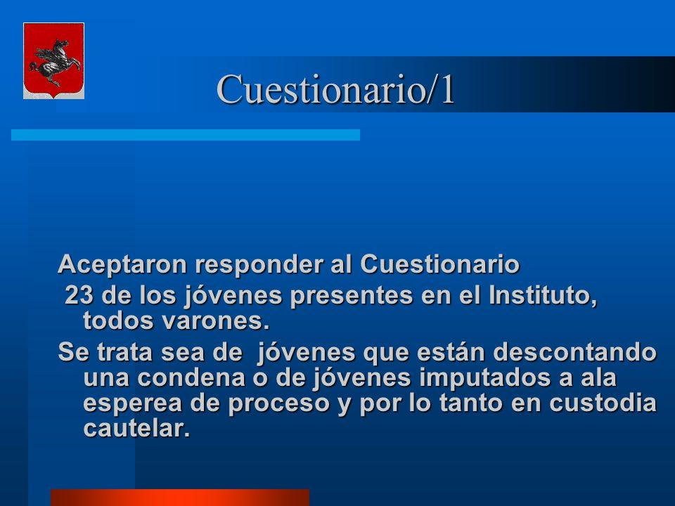 Cuestionario/1 Aceptaron responder al Cuestionario 23 de los jóvenes presentes en el Instituto, todos varones.