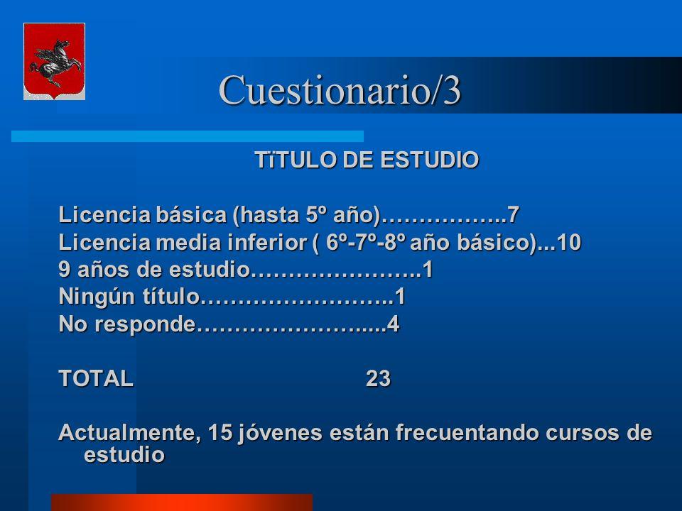 Cuestionario/3 TïTULO DE ESTUDIO Licencia básica (hasta 5º año)……………..7 Licencia media inferior ( 6º-7º-8º año básico)...10 9 años de estudio…………………..1 Ningún título……………………..1 No responde………………….....4 TOTAL 23 Actualmente, 15 jóvenes están frecuentando cursos de estudio