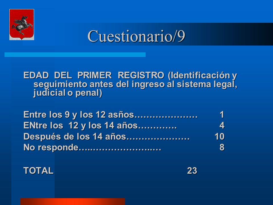 Cuestionario/9 EDAD DEL PRIMER REGISTRO (Identificación y seguimiento antes del ingreso al sistema legal, judicial o penal) Entre los 9 y los 12 asños