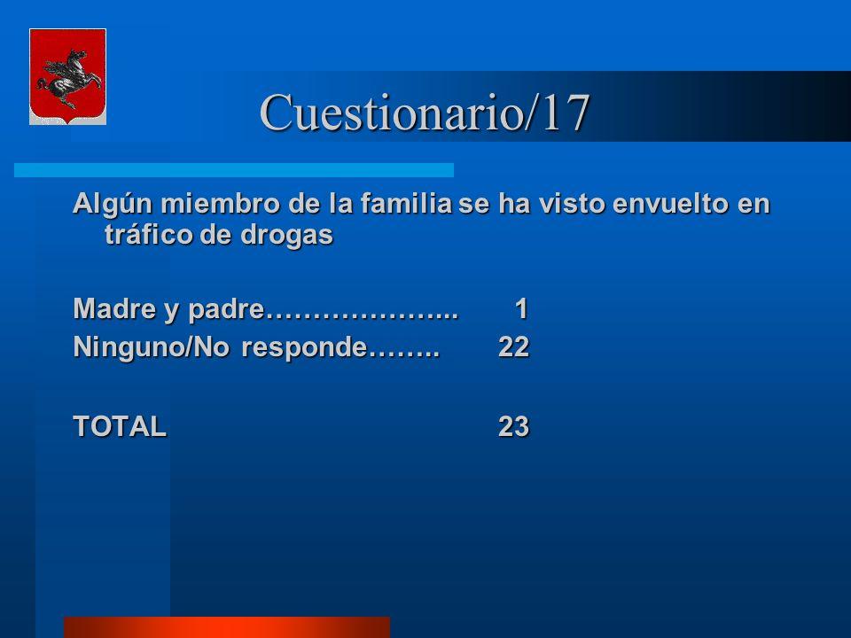 Cuestionario/17 Algún miembro de la familia se ha visto envuelto en tráfico de drogas Madre y padre………………... 1 Ninguno/No responde……..22 TOTAL 23