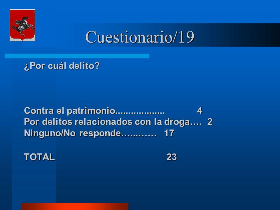 Cuestionario/19 ¿Por cuál delito? Contra el patrimonio................... 4 Por delitos relacionados con la droga…. 2 Ninguno/No responde…...……17 TOTA