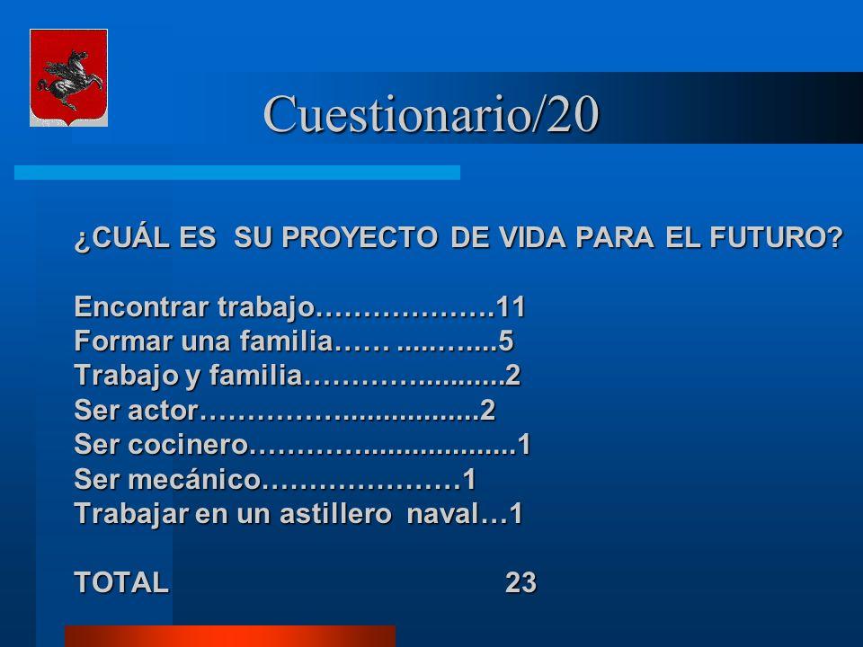 Cuestionario/20 ¿CUÁL ES SU PROYECTO DE VIDA PARA EL FUTURO? Encontrar trabajo……………….11 Formar una familia…….....…....5 Trabajo y familia………….........