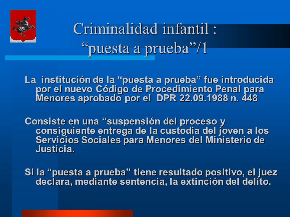Criminalidad infantil : puesta a prueba/1 La institución de la puesta a prueba fue introducida por el nuevo Código de Procedimiento Penal para Menores aprobado por el DPR 22.09.1988 n.