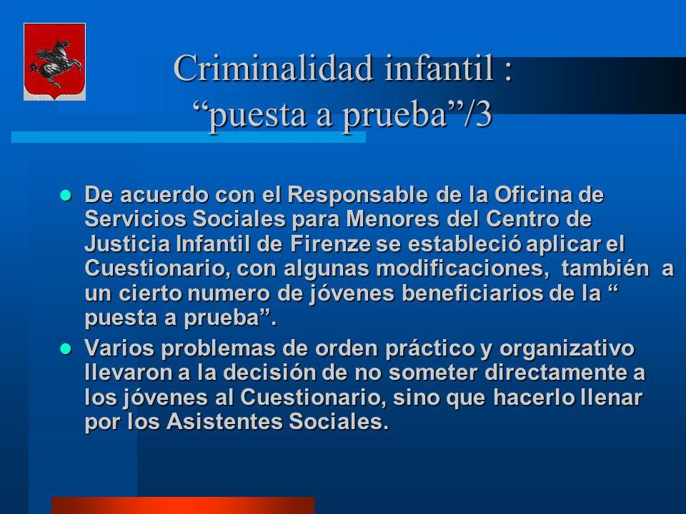 Criminalidad infantil : puesta a prueba/3 De acuerdo con el Responsable de la Oficina de Servicios Sociales para Menores del Centro de Justicia Infant