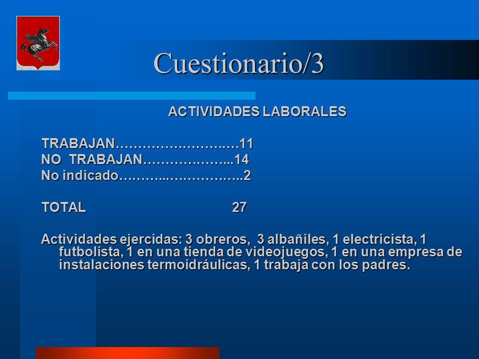 Cuestionario/3 ACTIVIDADES LABORALES TRABAJAN…………………….…11 NO TRABAJAN………………...14 No indicado………...……………..2 TOTAL 27 Actividades ejercidas: 3 obreros, 3 albañiles, 1 electricista, 1 futbolista, 1 en una tienda de videojuegos, 1 en una empresa de instalaciones termoidráulicas, 1 trabaja con los padres.
