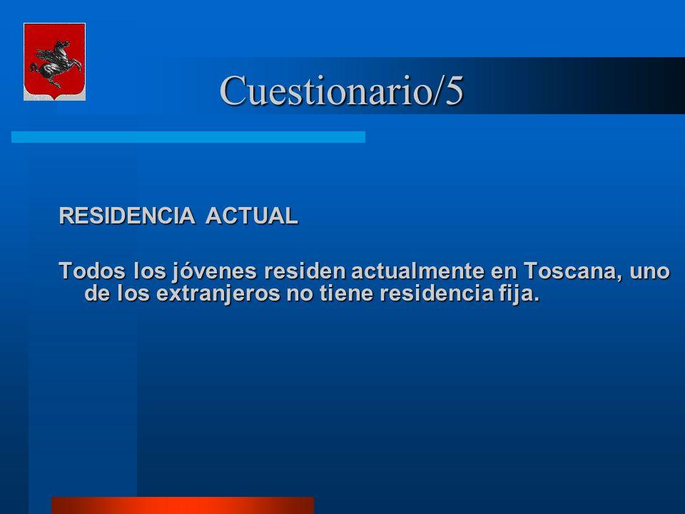 Cuestionario/5 RESIDENCIA ACTUAL Todos los jóvenes residen actualmente en Toscana, uno de los extranjeros no tiene residencia fija.