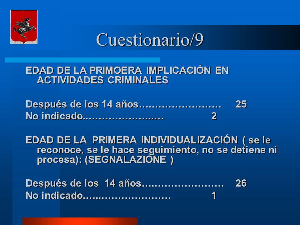 Cuestionario/9 EDAD DE LA PRIMOERA IMPLICACIÓN EN ACTIVIDADES CRIMINALES Después de los 14 años….…………………25 No indicado..………………..… 2 EDAD DE LA PRIMERA