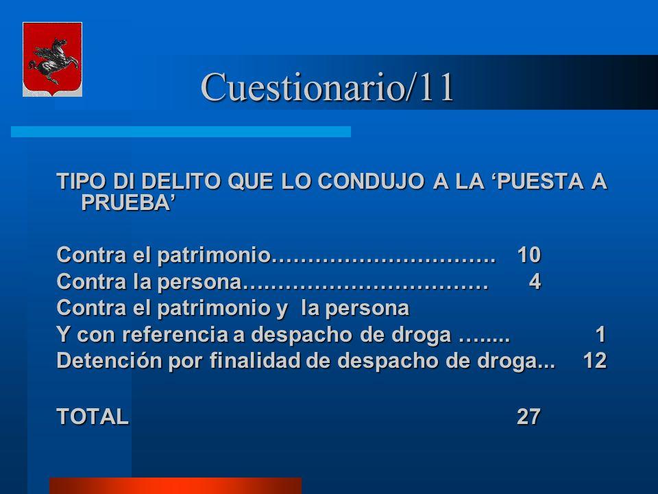 Cuestionario/11 TIPO DI DELITO QUE LO CONDUJO A LA PUESTA A PRUEBA Contra el patrimonio………………………….10 Contra la persona….………………………… 4 Contra el patrimonio y la persona Y con referencia a despacho de droga ….....