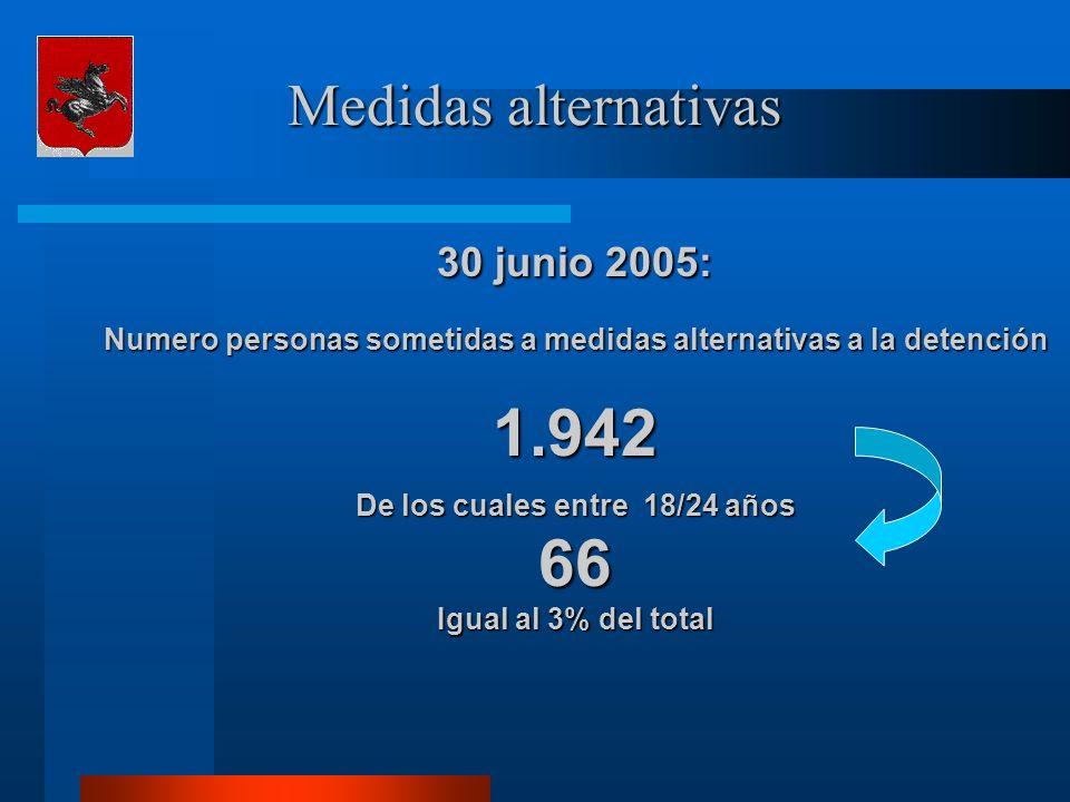 Medidas alternativas 30 junio 2005: Numero personas sometidas a medidas alternativas a la detención 1.942 De los cuales entre 18/24 años 66 Igual al 3% del total