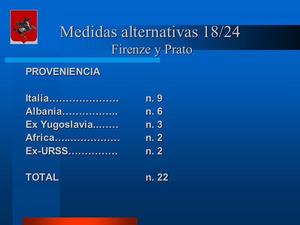 Medidas alternativas 18/24 Firenze y Prato PROVENIENCIA Italia…………………n. 9 Albania……………..n. 6 Ex Yugoslavia..……n. 3 Africa…..……………n. 2 Ex-URSS……………n. 2