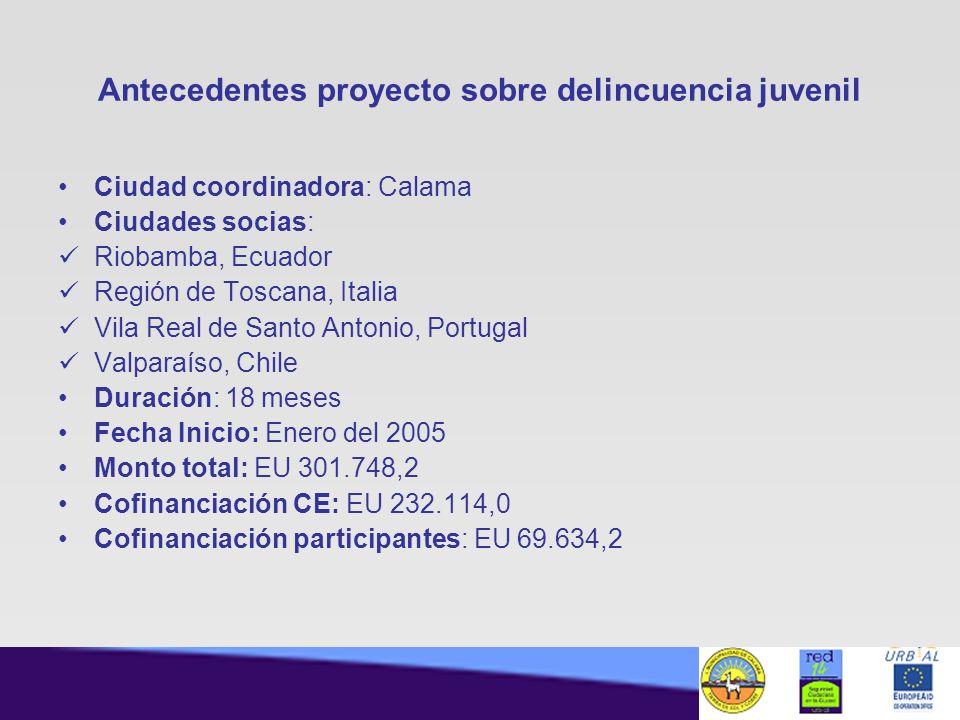 Antecedentes proyecto sobre delincuencia juvenil Ciudad coordinadora: Calama Ciudades socias: Riobamba, Ecuador Región de Toscana, Italia Vila Real de