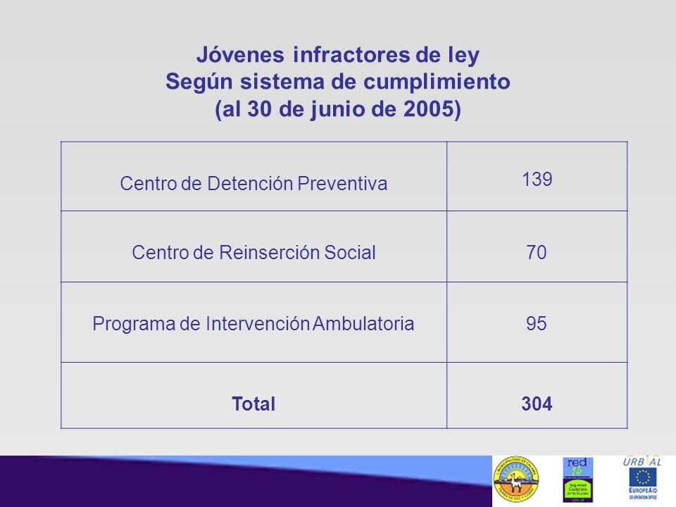 Jóvenes infractores de ley Según sistema de cumplimiento (al 30 de junio de 2005) Centro de Detención Preventiva 139 Centro de Reinserción Social70 Pr