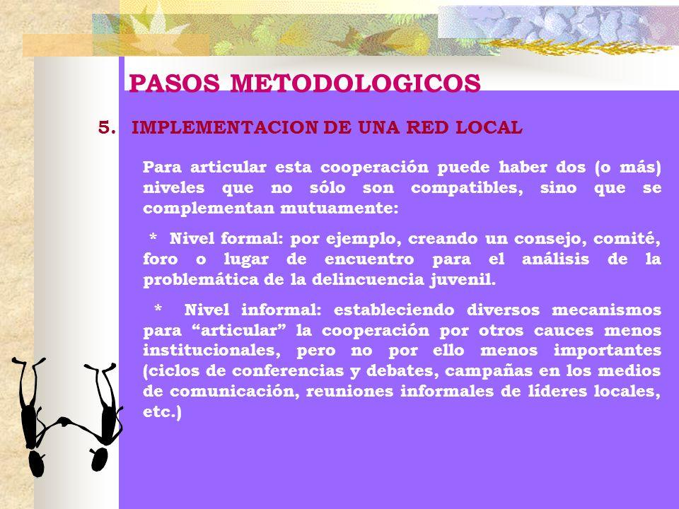 PASOS METODOLOGICOS 5.IMPLEMENTACION DE UNA RED LOCAL Para articular esta cooperación puede haber dos (o más) niveles que no sólo son compatibles, sin