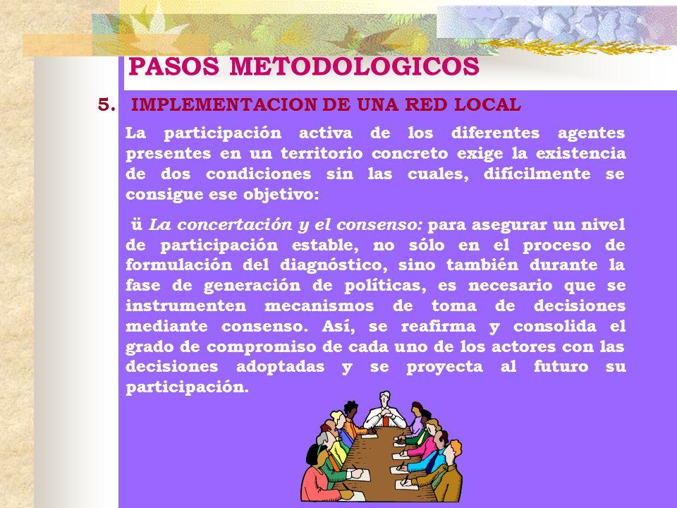 PASOS METODOLOGICOS 5.IMPLEMENTACION DE UNA RED LOCAL La participación activa de los diferentes agentes presentes en un territorio concreto exige la e