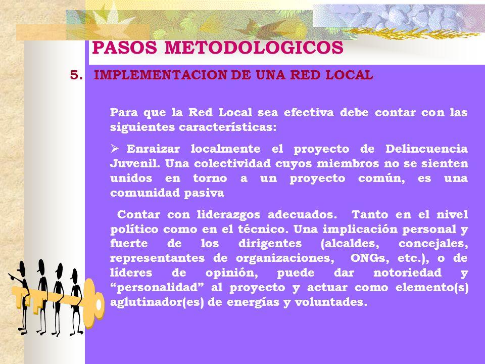 PASOS METODOLOGICOS 5.IMPLEMENTACION DE UNA RED LOCAL Para que la Red Local sea efectiva debe contar con las siguientes características: Enraizar loca