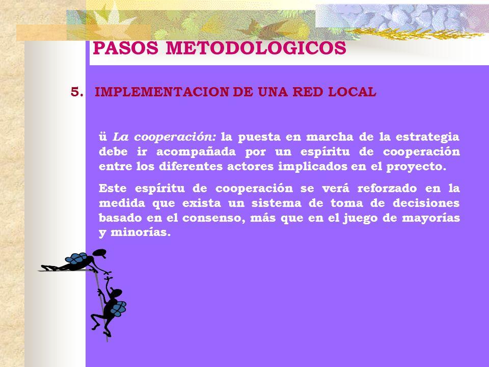 PASOS METODOLOGICOS 5.IMPLEMENTACION DE UNA RED LOCAL ü La cooperación: la puesta en marcha de la estrategia debe ir acompañada por un espíritu de coo