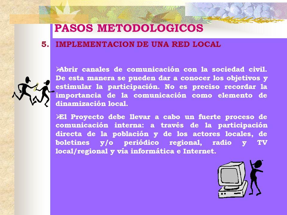PASOS METODOLOGICOS 5.IMPLEMENTACION DE UNA RED LOCAL Abrir canales de comunicación con la sociedad civil. De esta manera se pueden dar a conocer los