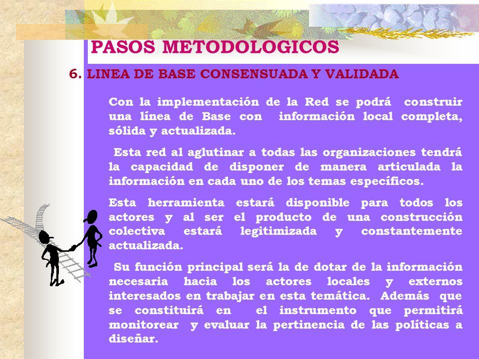 PASOS METODOLOGICOS 6. LINEA DE BASE CONSENSUADA Y VALIDADA Con la implementación de la Red se podrá construir una línea de Base con información local