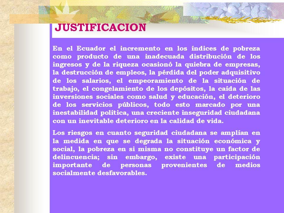 JUSTIFICACION En el Ecuador el incremento en los índices de pobreza como producto de una inadecuada distribución de los ingresos y de la riqueza ocasi