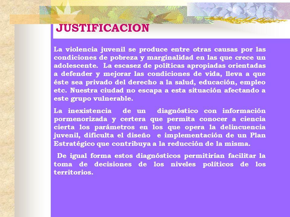 JUSTIFICACION La violencia juvenil se produce entre otras causas por las condiciones de pobreza y marginalidad en las que crece un adolescente. La esc