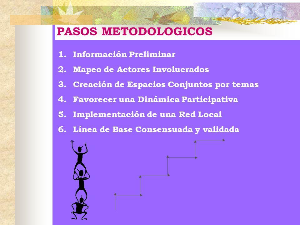 PASOS METODOLOGICOS 1.Información Preliminar 2.Mapeo de Actores Involucrados 3.Creación de Espacios Conjuntos por temas 4.Favorecer una Dinámica Parti