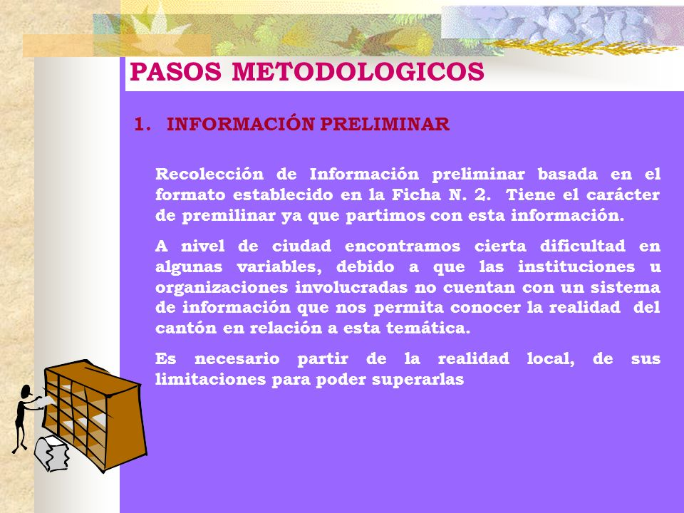 PASOS METODOLOGICOS 1.INFORMACIÓN PRELIMINAR Recolección de Información preliminar basada en el formato establecido en la Ficha N. 2. Tiene el carácte
