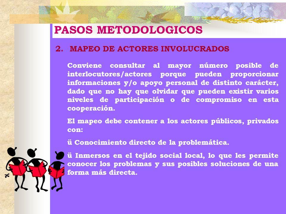 PASOS METODOLOGICOS 2.MAPEO DE ACTORES INVOLUCRADOS Conviene consultar al mayor número posible de interlocutores/actores porque pueden proporcionar in