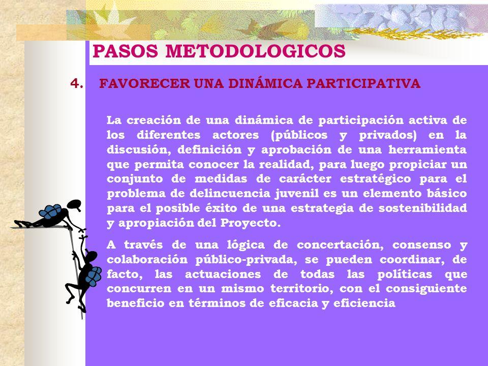 PASOS METODOLOGICOS 4. FAVORECER UNA DINÁMICA PARTICIPATIVA La creación de una dinámica de participación activa de los diferentes actores (públicos y