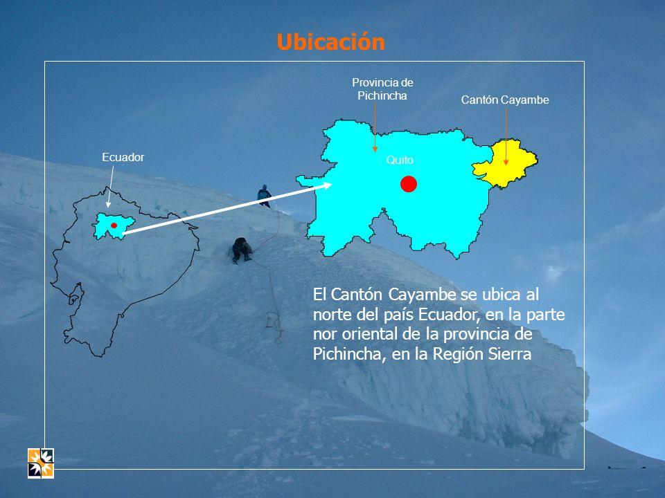 EL CANTÓN CAYAMBE Ayora Cayambe Nevado Cayambe N EW S Superficie: 1350 km².