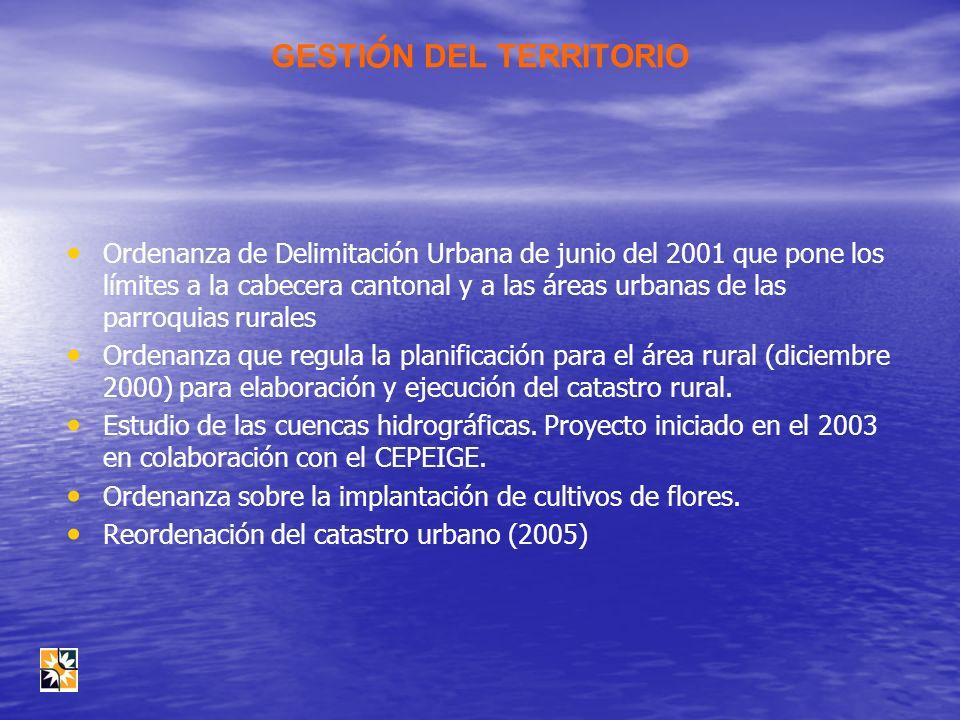 GESTI Ó N DEL TERRITORIO Ordenanza de Delimitación Urbana de junio del 2001 que pone los límites a la cabecera cantonal y a las áreas urbanas de las p