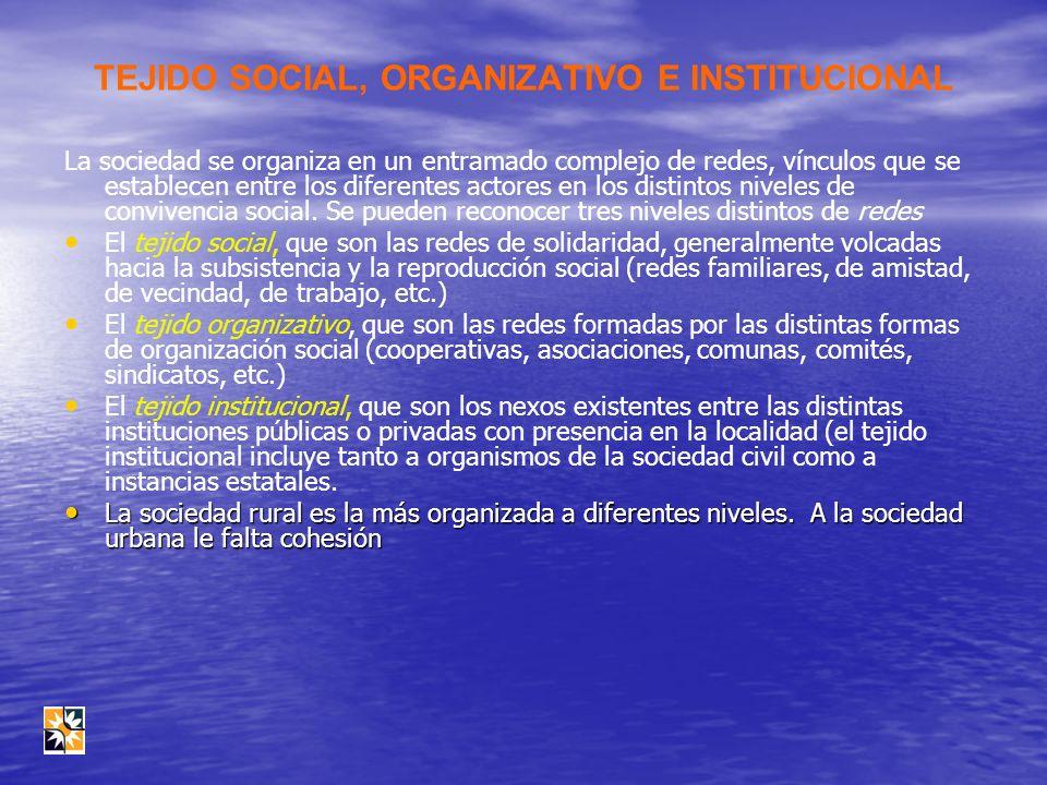 TEJIDO SOCIAL, ORGANIZATIVO E INSTITUCIONAL La sociedad se organiza en un entramado complejo de redes, vínculos que se establecen entre los diferentes