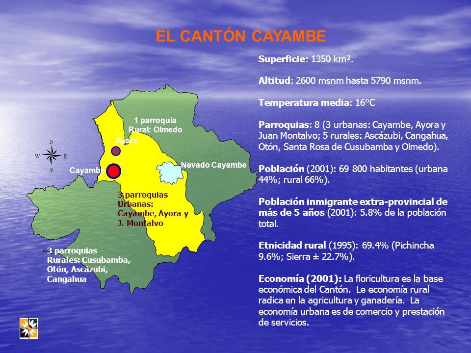 EL CANTÓN CAYAMBE Ayora Cayambe Nevado Cayambe N EW S Superficie: 1350 km². Altitud: 2600 msnm hasta 5790 msnm. Temperatura media: 16°C Parroquias: 8