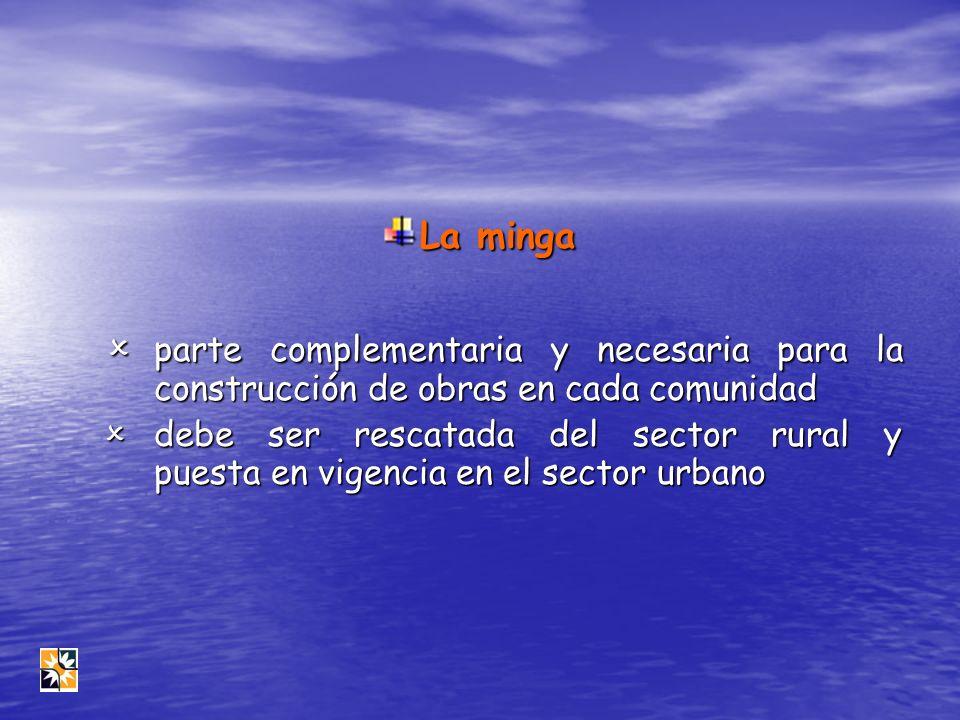 La minga parte complementaria y necesaria para la construcción de obras en cada comunidad parte complementaria y necesaria para la construcción de obr