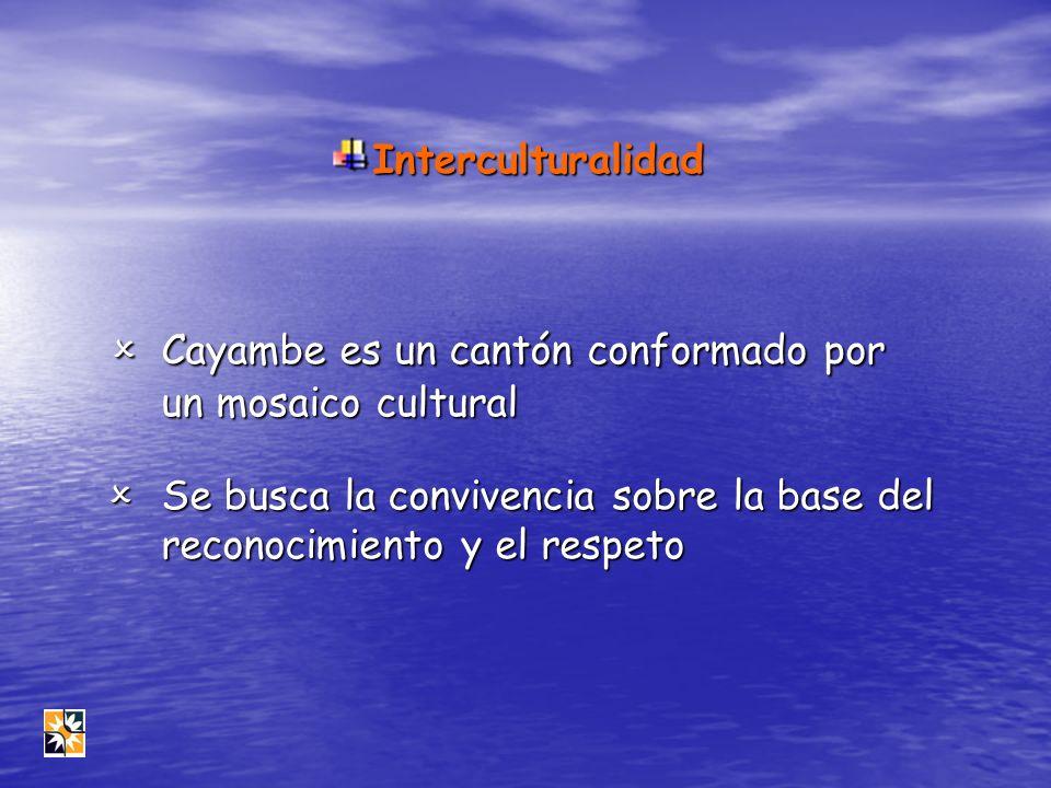 Interculturalidad Cayambe es un cantón conformado por un mosaico cultural Cayambe es un cantón conformado por un mosaico cultural Se busca la conviven