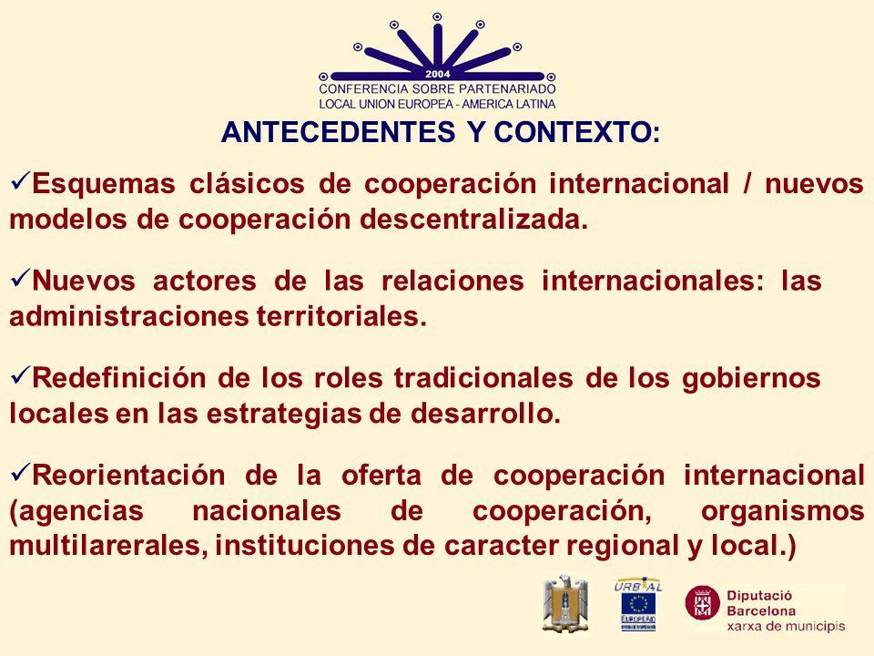 ANTECEDENTES Y CONTEXTO: Esquemas clásicos de cooperación internacional / nuevos modelos de cooperación descentralizada. Nuevos actores de las relacio