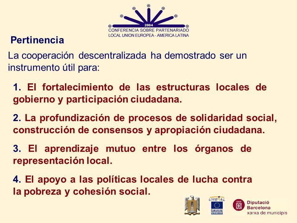 Pertinencia 1. El fortalecimiento de las estructuras locales de gobierno y participación ciudadana. 2. La profundización de procesos de solidaridad so