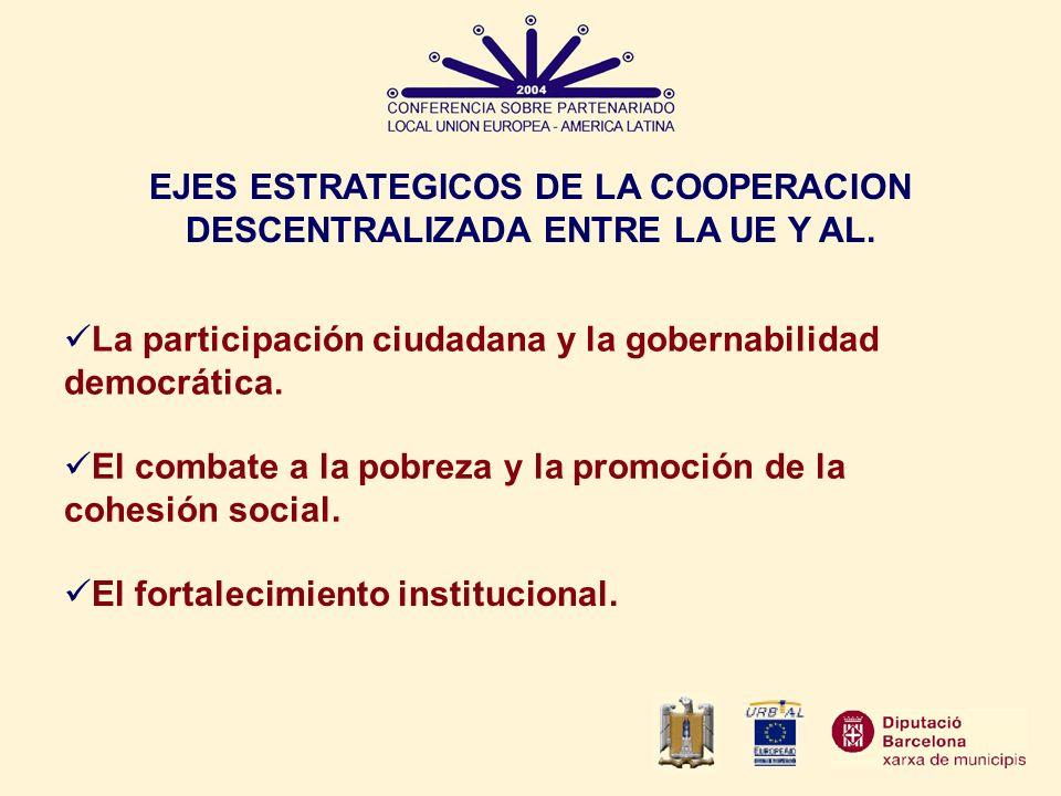 EJES ESTRATEGICOS DE LA COOPERACION DESCENTRALIZADA ENTRE LA UE Y AL. La participación ciudadana y la gobernabilidad democrática. El combate a la pobr
