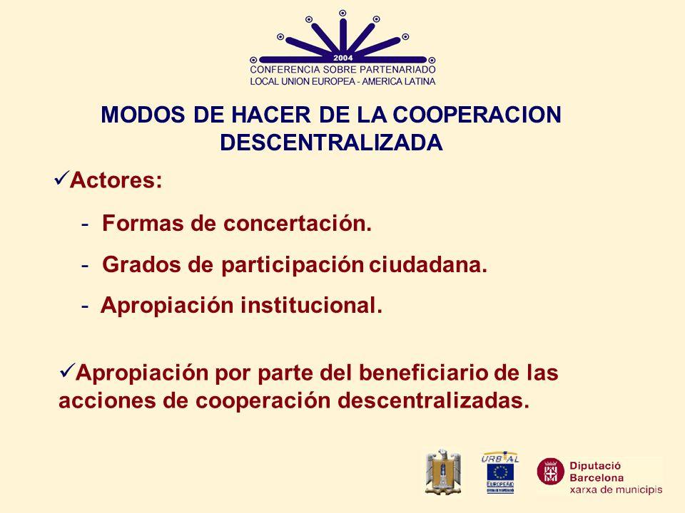 MODOS DE HACER DE LA COOPERACION DESCENTRALIZADA Actores: Apropiación por parte del beneficiario de las acciones de cooperación descentralizadas. - Fo