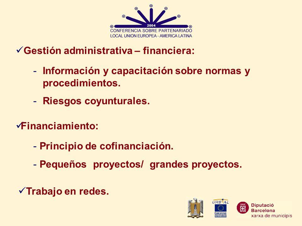 Trabajo en redes. Financiamiento: Gestión administrativa – financiera: -Información y capacitación sobre normas y procedimientos. -Riesgos coyunturale