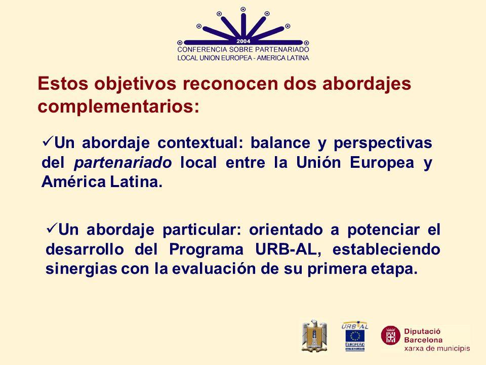 Estos objetivos reconocen dos abordajes complementarios: Un abordaje particular: orientado a potenciar el desarrollo del Programa URB-AL, estableciend