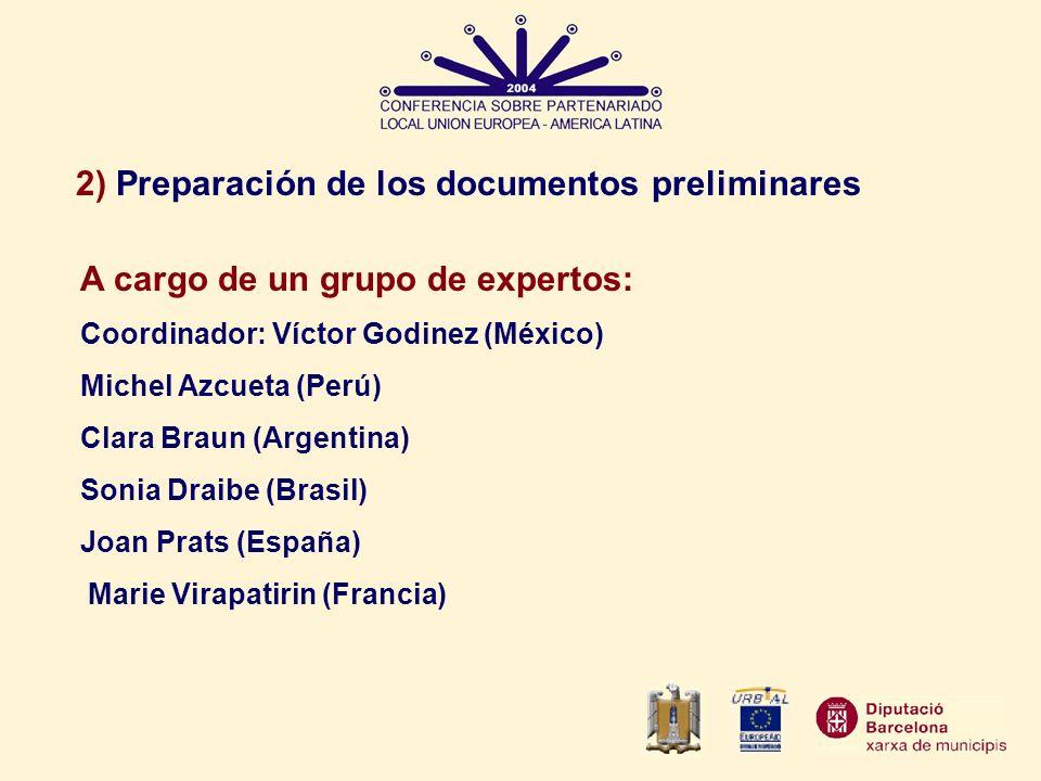 2) Preparación de los documentos preliminares A cargo de un grupo de expertos: Coordinador: Víctor Godinez (México) Michel Azcueta (Perú) Clara Braun