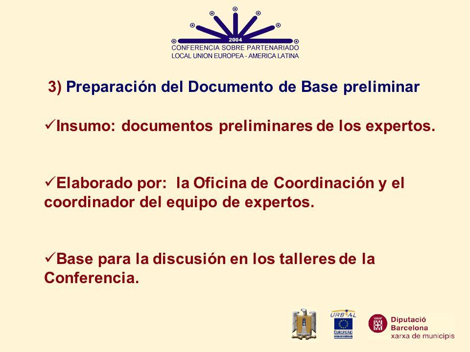 3) Preparación del Documento de Base preliminar Insumo: documentos preliminares de los expertos. Elaborado por: la Oficina de Coordinación y el coordi