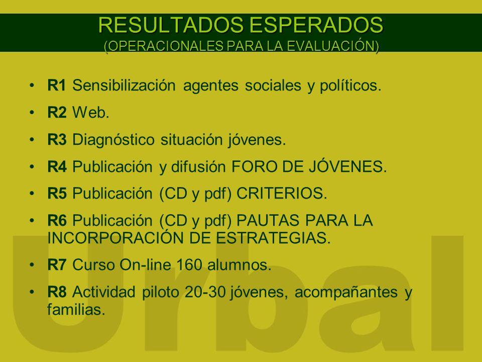 RESULTADOS ESPERADOS (OPERACIONALES PARA LA EVALUACIÓN) R1 Sensibilización agentes sociales y políticos. R2 Web. R3 Diagnóstico situación jóvenes. R4