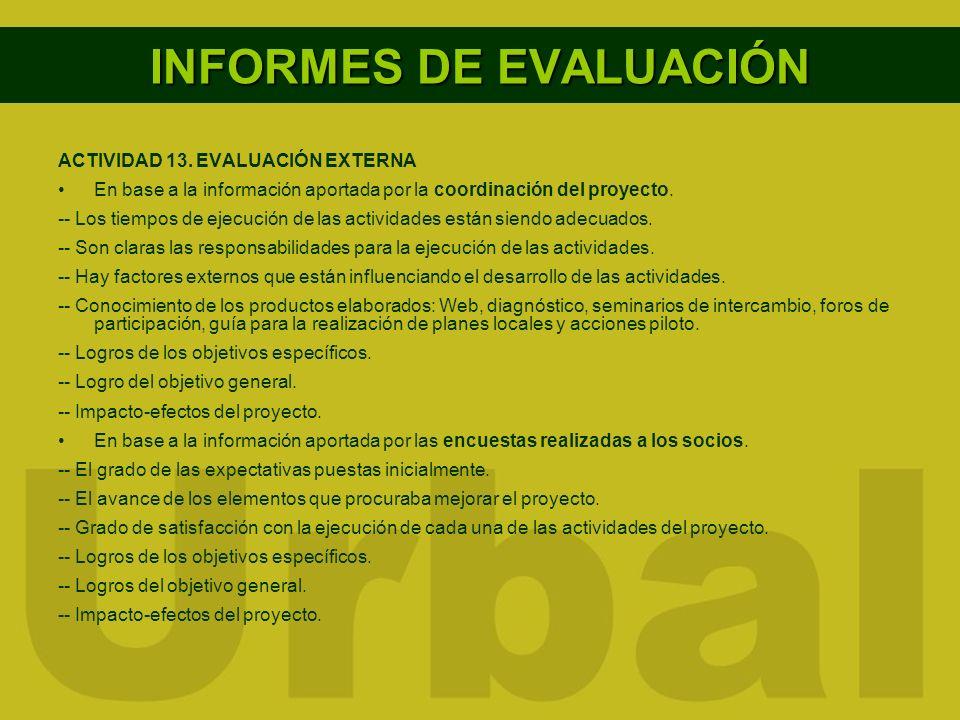 INFORMES DE EVALUACIÓN ACTIVIDAD 13. EVALUACIÓN EXTERNA En base a la información aportada por la coordinación del proyecto. -- Los tiempos de ejecució