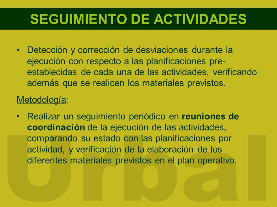 SEGUIMIENTO DE ACTIVIDADES Detección y corrección de desviaciones durante la ejecución con respecto a las planificaciones pre- establecidas de cada un