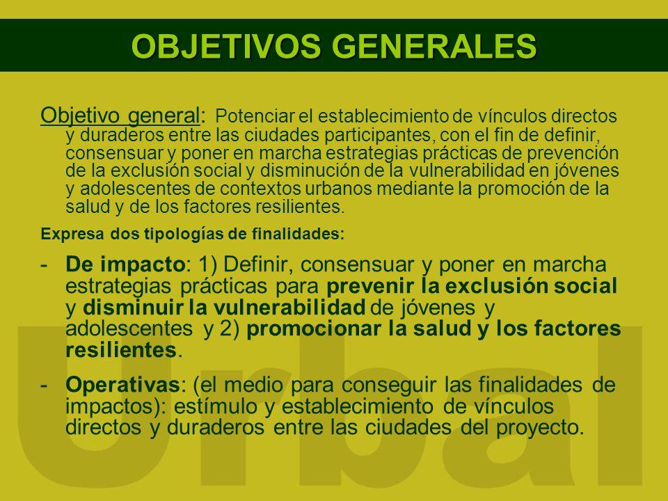 OBJETIVOS GENERALES Objetivo general: Potenciar el establecimiento de vínculos directos y duraderos entre las ciudades participantes, con el fin de de