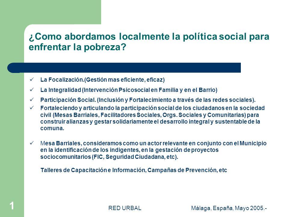 RED URBALMálaga, España, Mayo 2005.- 1 ¿Como abordamos localmente la política social para enfrentar la pobreza.
