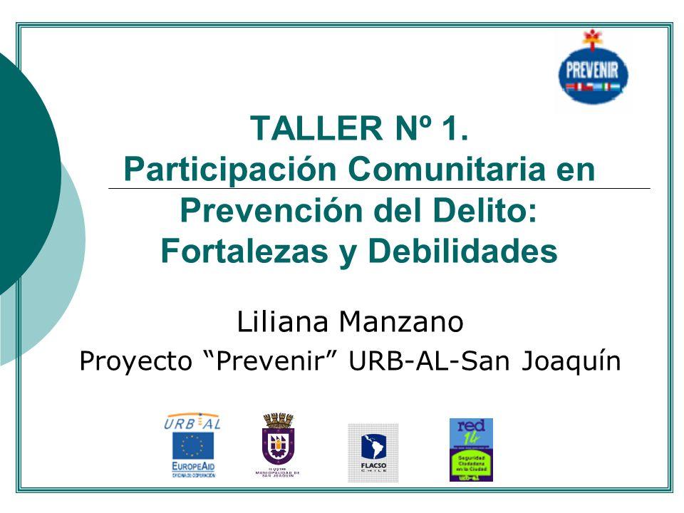 TALLER Nº 1. Participación Comunitaria en Prevención del Delito: Fortalezas y Debilidades Liliana Manzano Proyecto Prevenir URB-AL-San Joaquín....