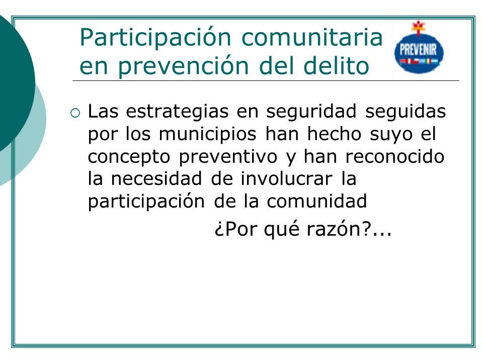 Participación comunitaria en prevención del delito Las estrategias en seguridad seguidas por los municipios han hecho suyo el concepto preventivo y ha